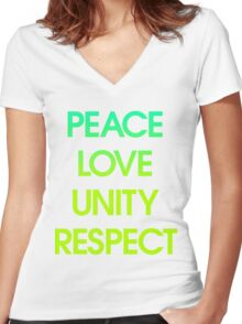 Peace Love Unity Respect (PLUR) Women's Fitted V-Neck T-Shirt