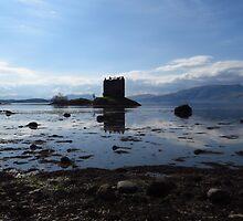 Castle Stalker and Loch Laich by wiggyofipswich