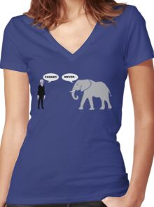 Silence vs. Elephant Women's Fitted V-Neck T-Shirt
