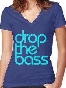 Drop The Bass (cyan) Women's Fitted V-Neck T-Shirt