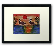 Romance in the air tonight,,,,Bird series, watercolor Framed Print