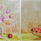 apples &amp; pears with vase of tulips by Stella  Shube As