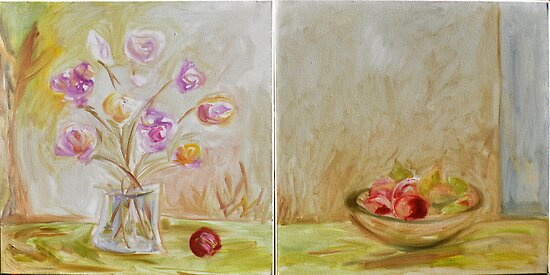 apples & pears with vase of tulips by Stella  Shube As
