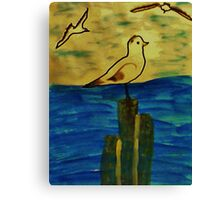Seagulls coming in to perch, Bird series, watercolor Canvas Print