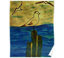 Seagulls coming in to perch, Bird series, watercolor Poster