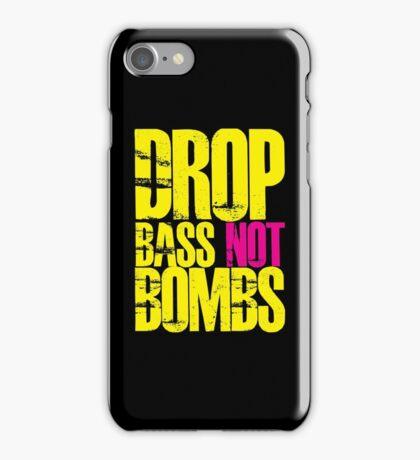 Drop Bass Not Bombs (Yellow)  iPhone Case/Skin
