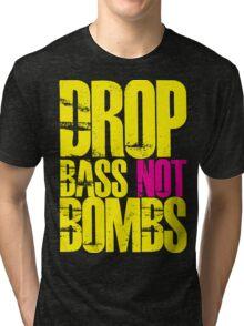 Drop Bass Not Bombs (Yellow)  Tri-blend T-Shirt