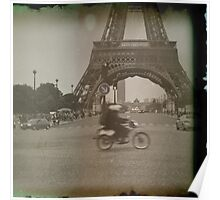 Moped to the Eiffel Tower Poster
