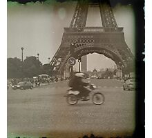 Moped to the Eiffel Tower Photographic Print