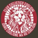 Club Ciclistico Coglioni: Monarch lion (red on white, large) by Babel