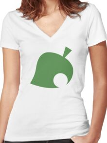Animal Crossing Leaf Women's Fitted V-Neck T-Shirt