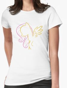 Fluttershy Outline Womens Fitted T-Shirt