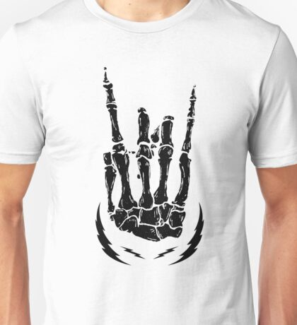 Bone hand skeleton rock sign Unisex T-Shirt