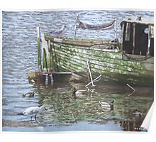 boat wreck with sea birds Poster