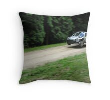 Jumping rally car at the Goodwood Festival of Speed Throw Pillow