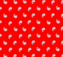 Red and white paisley bandana pattern by calinvr