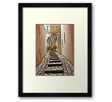 Stairs near the castle in the old town in winter, Bratislava, Slovakia, Eastern Europe, EU Framed Print