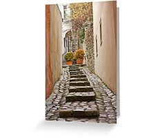 Stairs near the castle in the old town in winter, Bratislava, Slovakia, Eastern Europe, EU Greeting Card