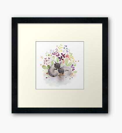 Puppies and flower Framed Print