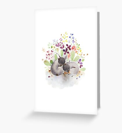 Puppies and flower Greeting Card