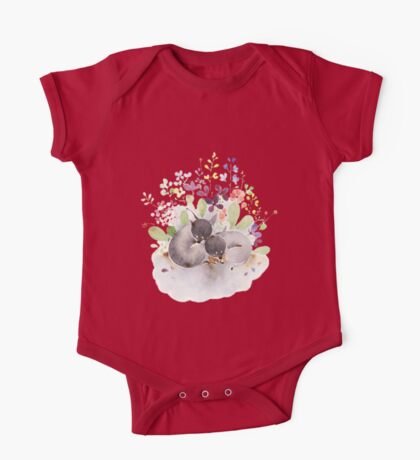 Puppies and flower One Piece - Short Sleeve