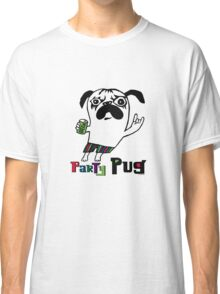Party Pug on white Classic T-Shirt