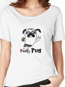 Party Pug on white Women's Relaxed Fit T-Shirt