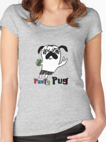 Party Pug on colors Women's Fitted Scoop T-Shirt