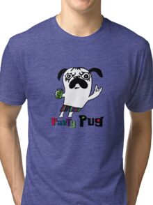 Party Pug on colors Tri-blend T-Shirt