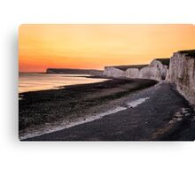 Costal Chalk Sunset in England Canvas Print