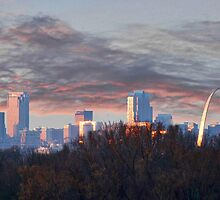 St. Louis Missouri at Sunset by barnsis