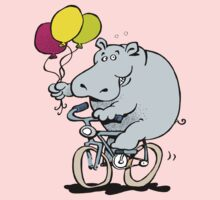 hippo on a bike One Piece - Short Sleeve