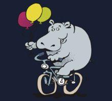 hippo on a bike Kids Clothes