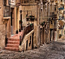 Street in Valletta Malta by Edwin  Catania