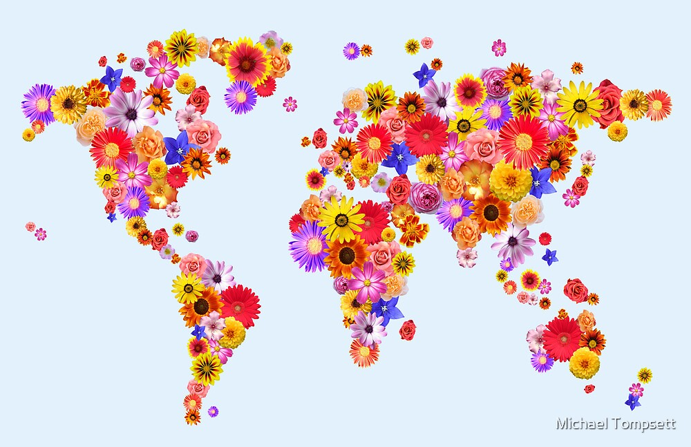 Flower World Map Canvas Art Print by Michael Tompsett