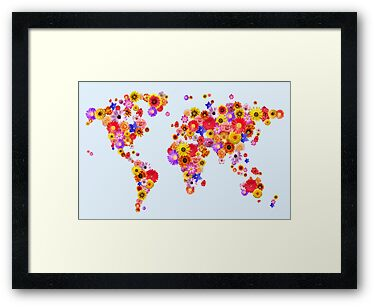 Flower World Map Canvas Art Print by ArtPrints