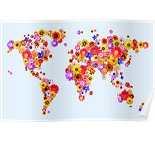 Flower World Map Canvas Art Print Poster