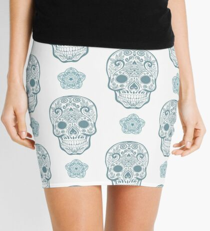 Skull day of the dead death muerte mask bone head black white. mystery calavera halloween dia de los muertos ornament. native traditional mexican seamless pattern Mini Skirt