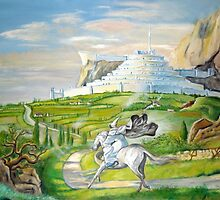 Gandalf riding to Minas Tirith by WormholePaint