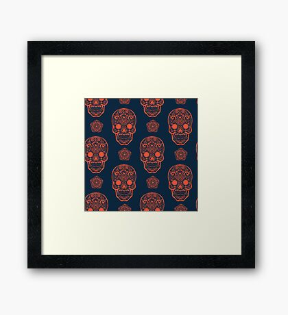 Skull day of the dead death muerte mask bone head black white. mystery calavera halloween dia de los muertos ornament. native traditional mexican seamless pattern Framed Print
