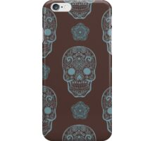Skull day of the dead death muerte mask bone head black white. mystery calavera halloween dia de los muertos ornament. native traditional mexican seamless pattern iPhone Case/Skin