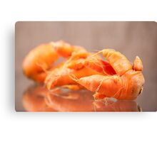 Fresh deformed carrot roots Canvas Print