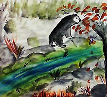 Black Bear going to feed, if he can find it,,,watercolor by Anna  Lewis, blind artist
