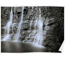 Filaments of water - waterfall in Glenariff, Co. Antrim Poster