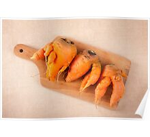 raw deformed carrot roots Poster