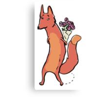 the fox has roses Canvas Print