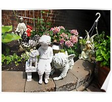 How many garden sculptures can one fit in a garden? Poster