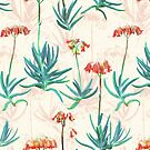 Flowering Succulent Pattern in Cream, Coral and Green by micklyn