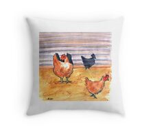 Rusty Chickens Throw Pillow