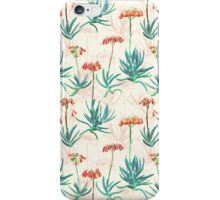 Flowering Succulent Pattern in Cream, Coral and Green iPhone Case/Skin